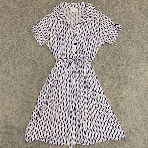 Kenar Blue and White Belted Dress